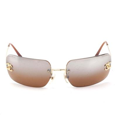 Chanel 4017-D Rhinestone CC Logo Rimless Sunglasses with Brown Gradient Lenses