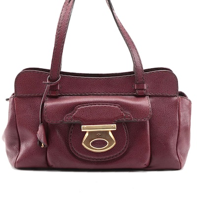 Tod's Burgundy Grained Leather Dual Handle Shoulder Bag