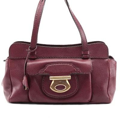 Tod's Burgundy Grained Leather Dual Handle Shoulder Bag