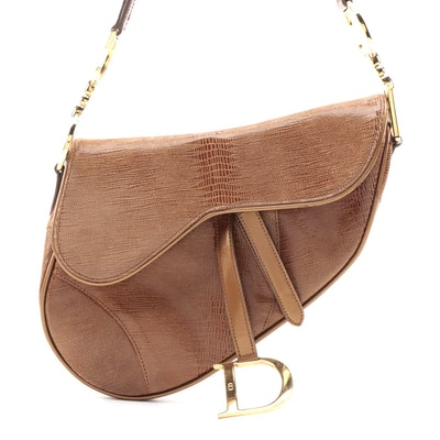 Christian Dior Saddle Bag in Brown Lizard Embossed Leather