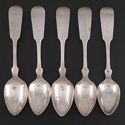 Coin Silver Fiddle Handle Teaspoons with Thomas Goldsmith, Troy, NY Retail Mark