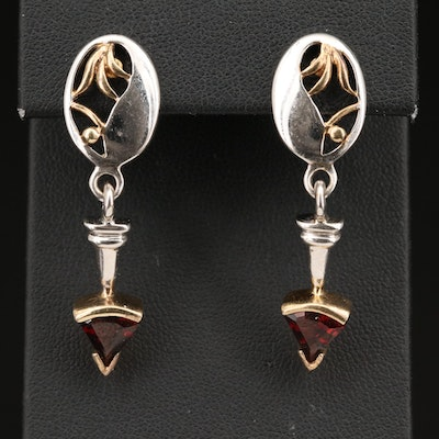 800 Silver Garnet Dangle Earrings