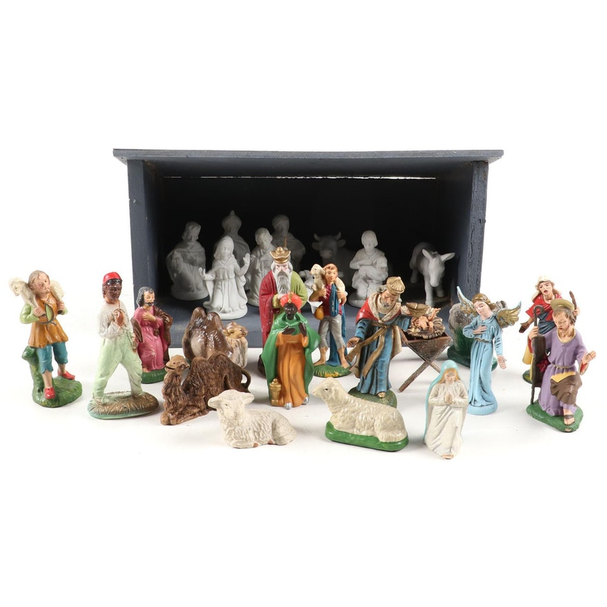 Italian and Japanese Christmas Nativity Figurines with Wooden Manger, Mid-20th C
