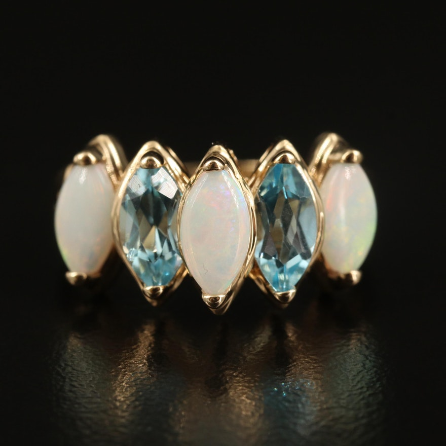 14K Opal and Topaz Marquise Step Ring