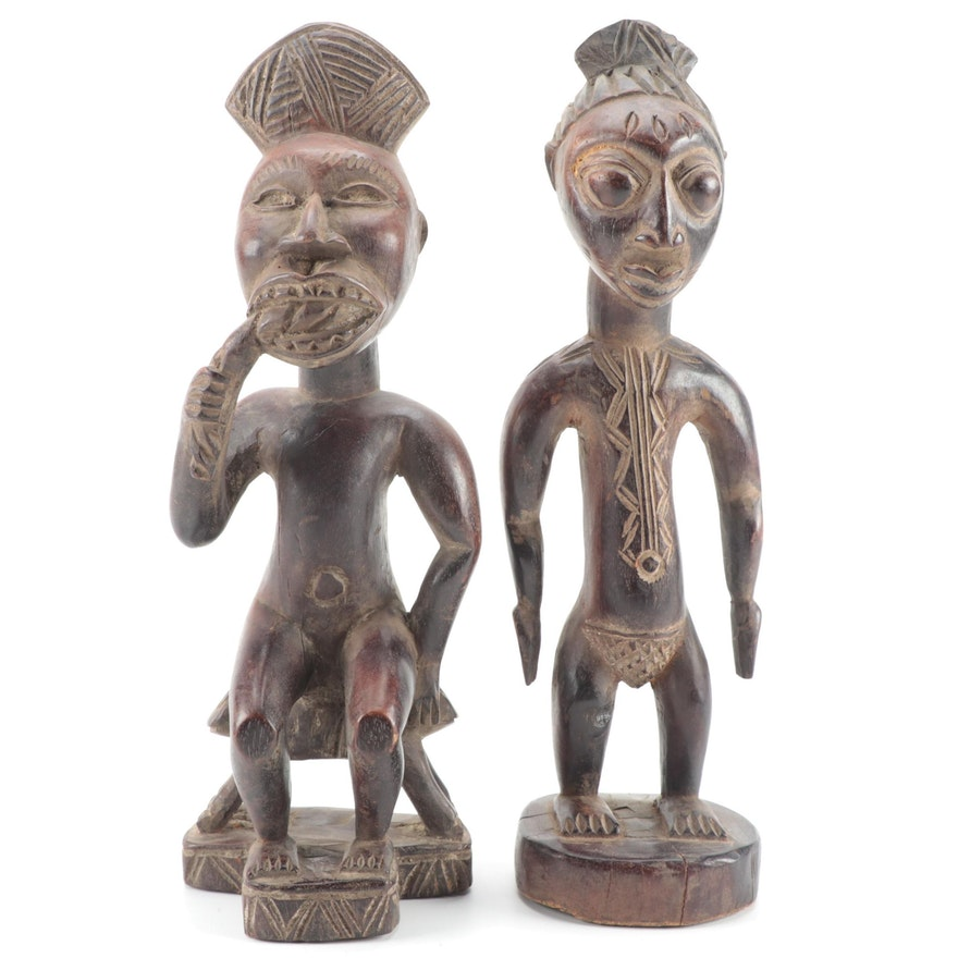 Bamun Style Carved Wood Figures, Cameroon
