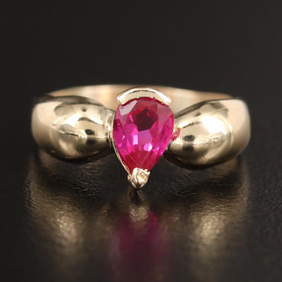 14K Pear Faceted Ruby Ring