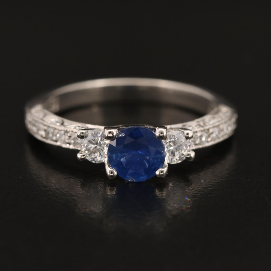 Tacori Platinum Sapphire and Diamond Ring