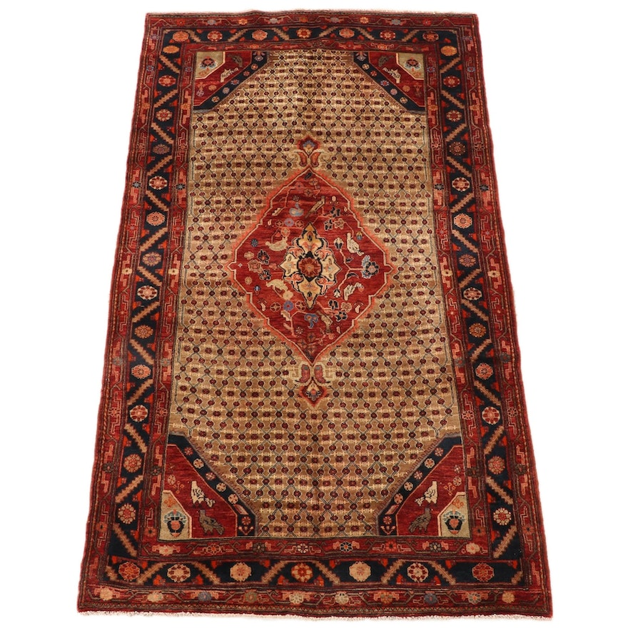 5'2 x 9'10 Hand-Knotted Persian Kurdish Wool Area Rug