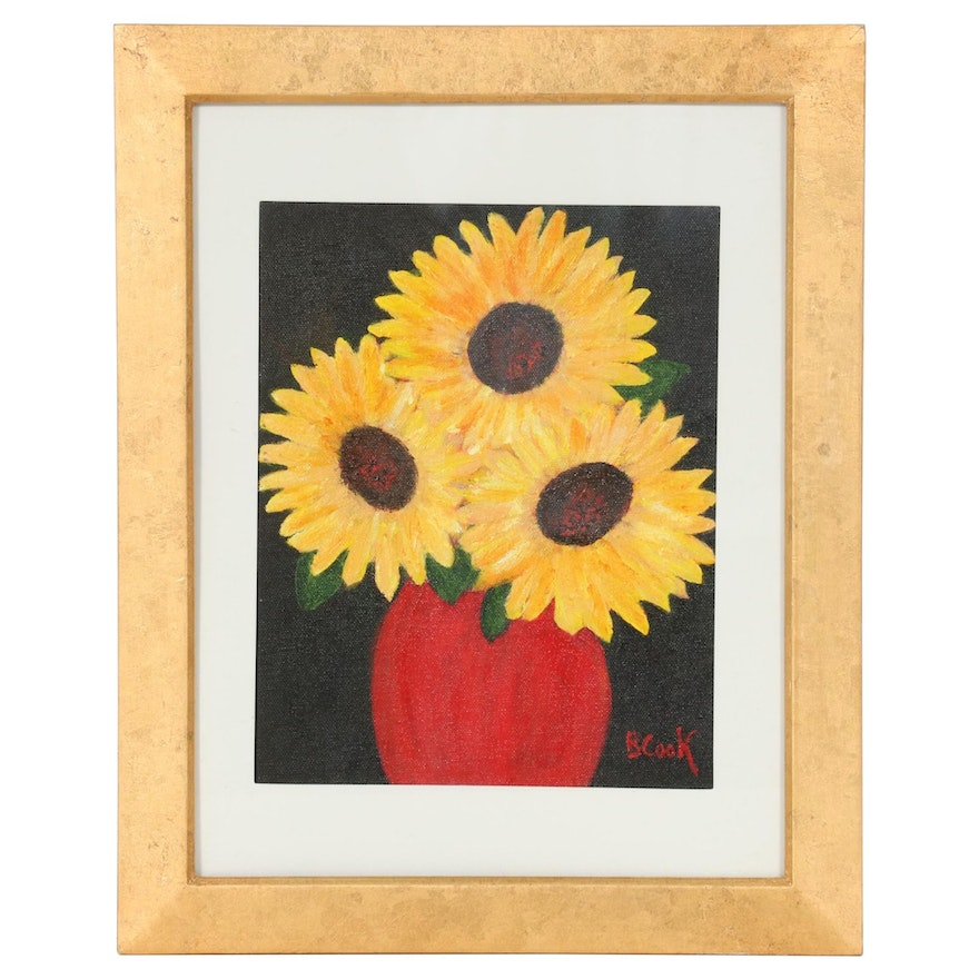 Still Life Acrylic Painting of Sunflowers