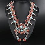 Jimmie Long Navajo Diné Coral and Turquoise Squash Blossom Necklace with Naja