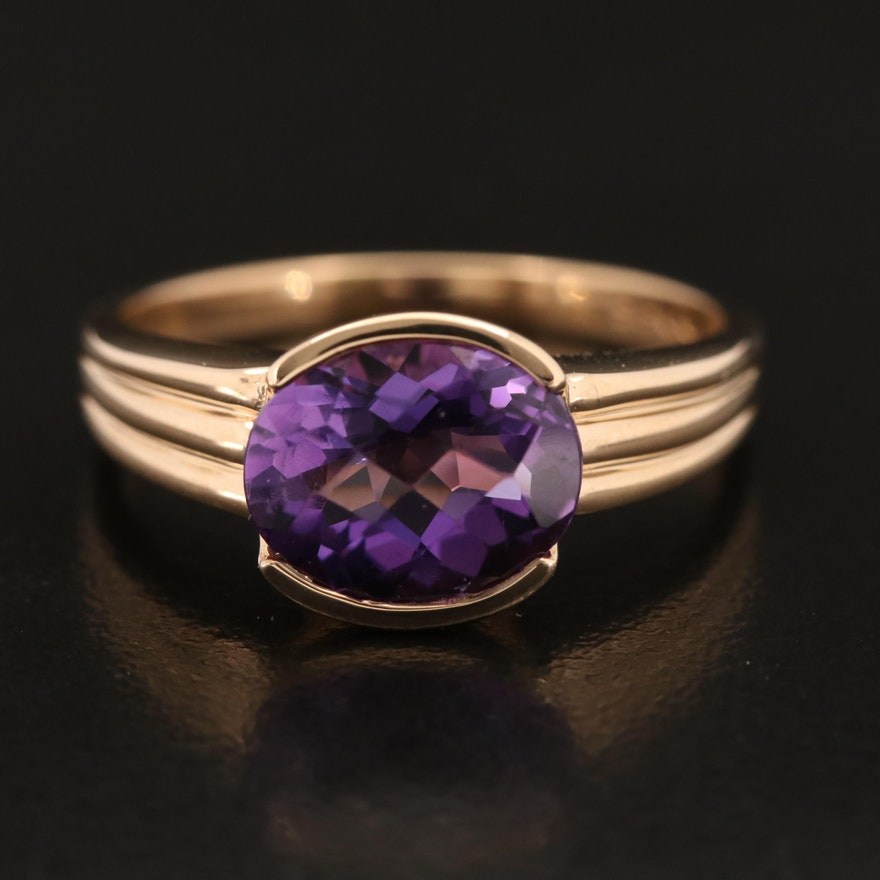 14K Half Bezel Set Amethyst Solitaire Ring