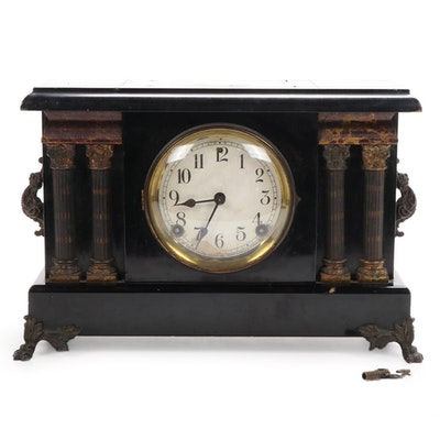 Sessions Ormulu and Ebonized Wood Neoclassical Mantle Clock