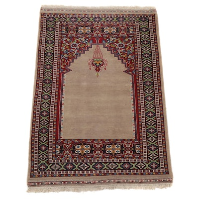 3'1 x 4'10 Hand-Knotted Pakistani Turkish Prayer Rug, 1990s