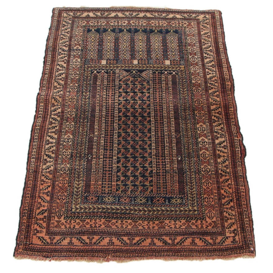 2'10 x 4'4 Hand-Knotted Persian Baluch Prayer Rug, 1930s