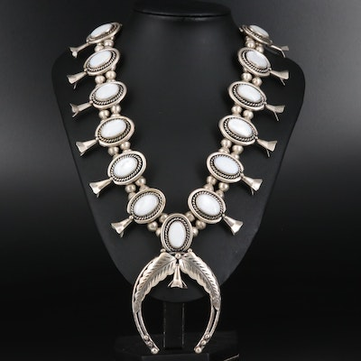 Roy Vandever Navajo Diné Mother of Pearl Squash Blossom Necklace with Naja