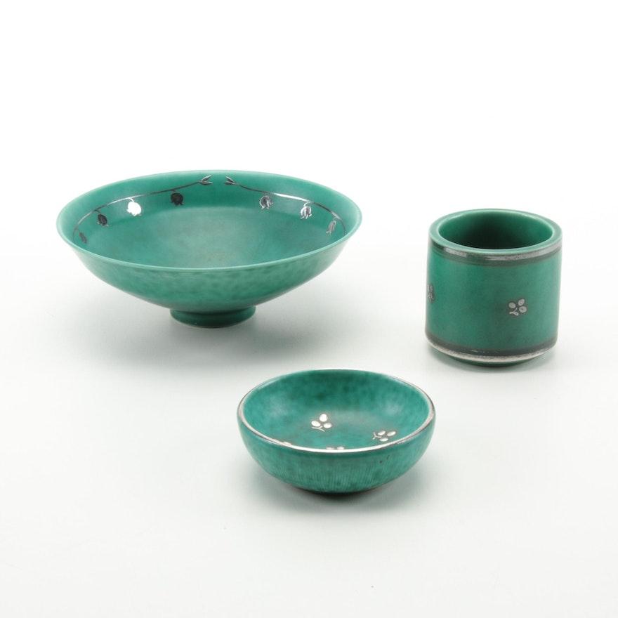 "Wilhelm Kåge for Gustavsberg ""Argenta"" Ceramic Bowls with Sterling Silver Inlays"