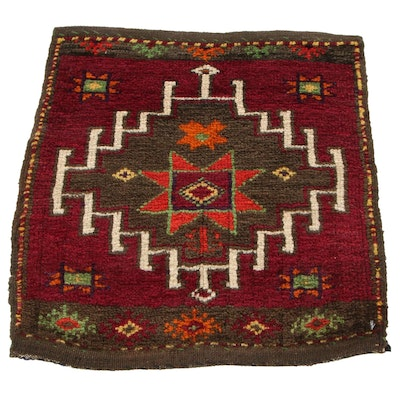 1'11 x 1'11 Hand-Knotted Persian Kurdish Bag Face Accent Rug, 1930s