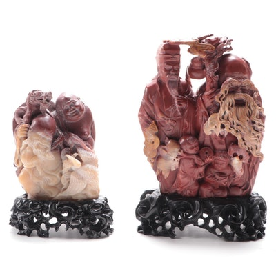 Chinese Carved Soapstone Figurines of The Sanxing and Budai