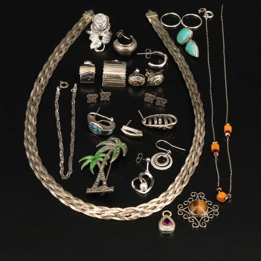 Sterling Silver Scrap Including Tiger's Eye, Wood, Marcasite and Enamel