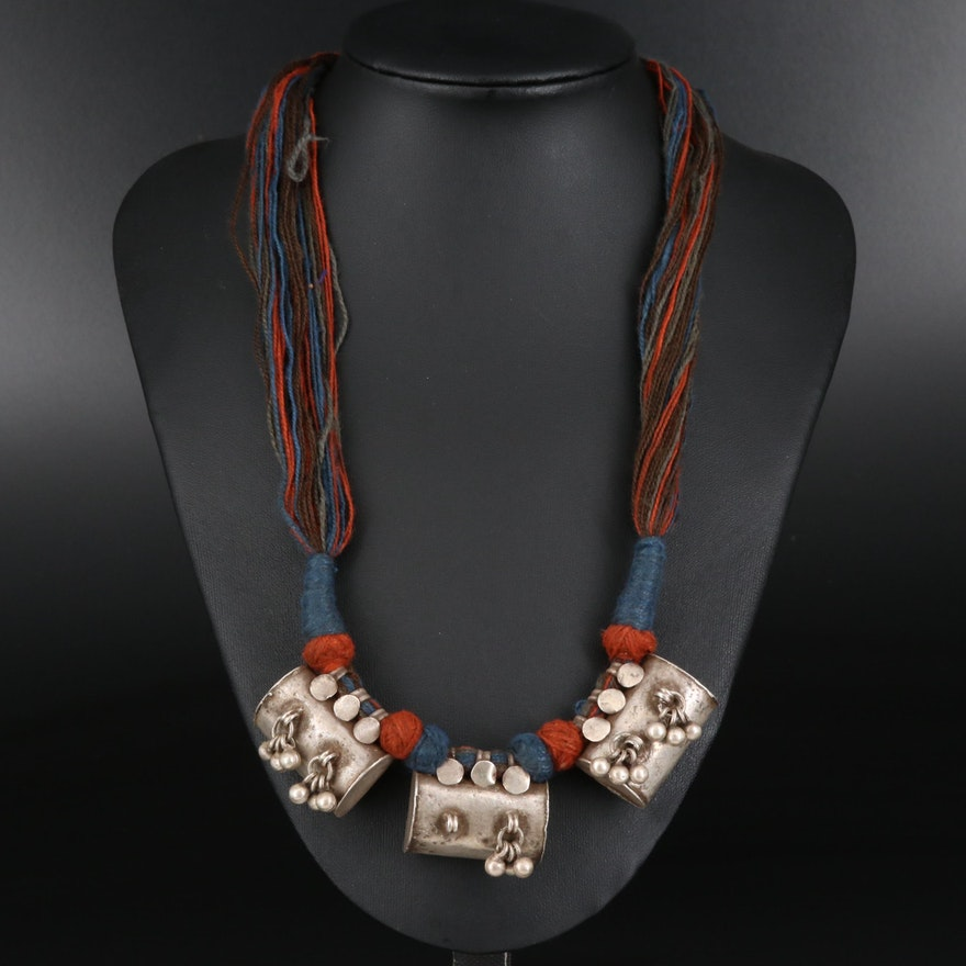 Vintage Indian 800 Silver Rajastjhani Tawiz Amulet Necklace