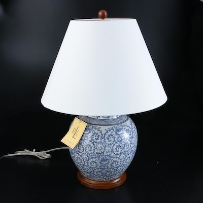 Ralph Lauren Blue and White Ceramic Chinoiserie Ginger Jar Table Lamp