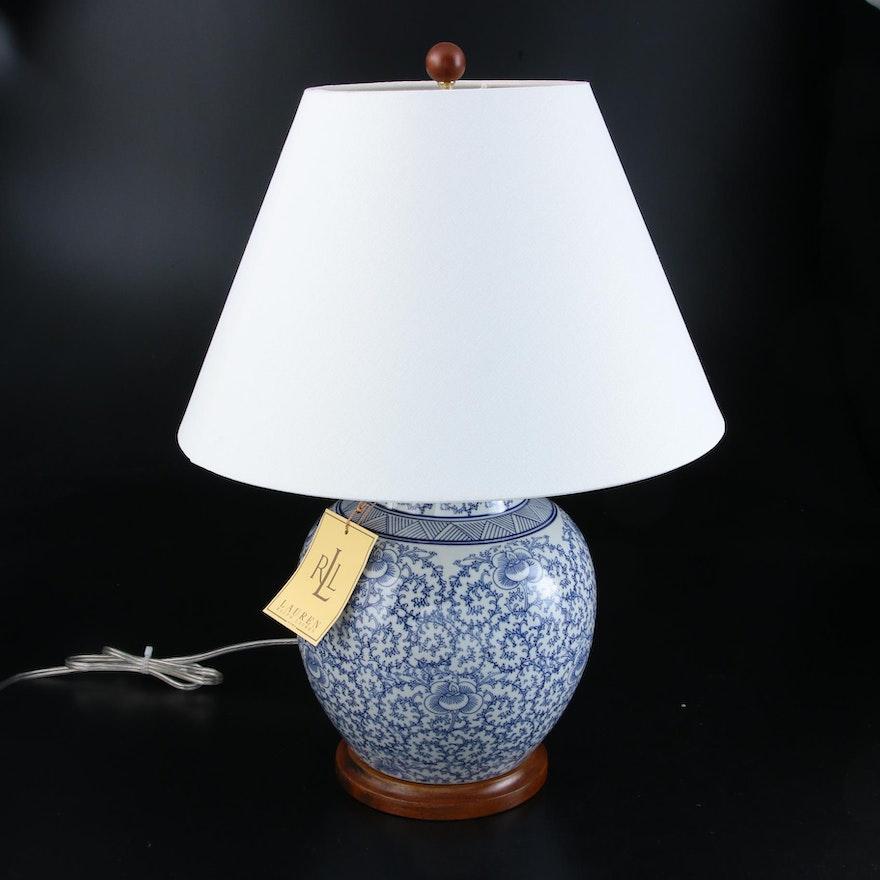 Ralph Lauren Blue and White Ceramic Chinoiserie Ginger Jar Table Lamp