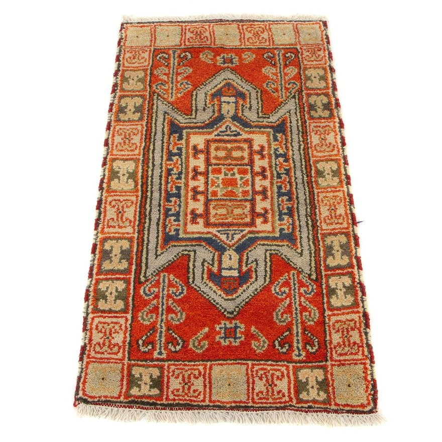 2'2 x 4' Hand-Knotted Indo-Caucasian Kazak Wool Accent Rug, 2010s