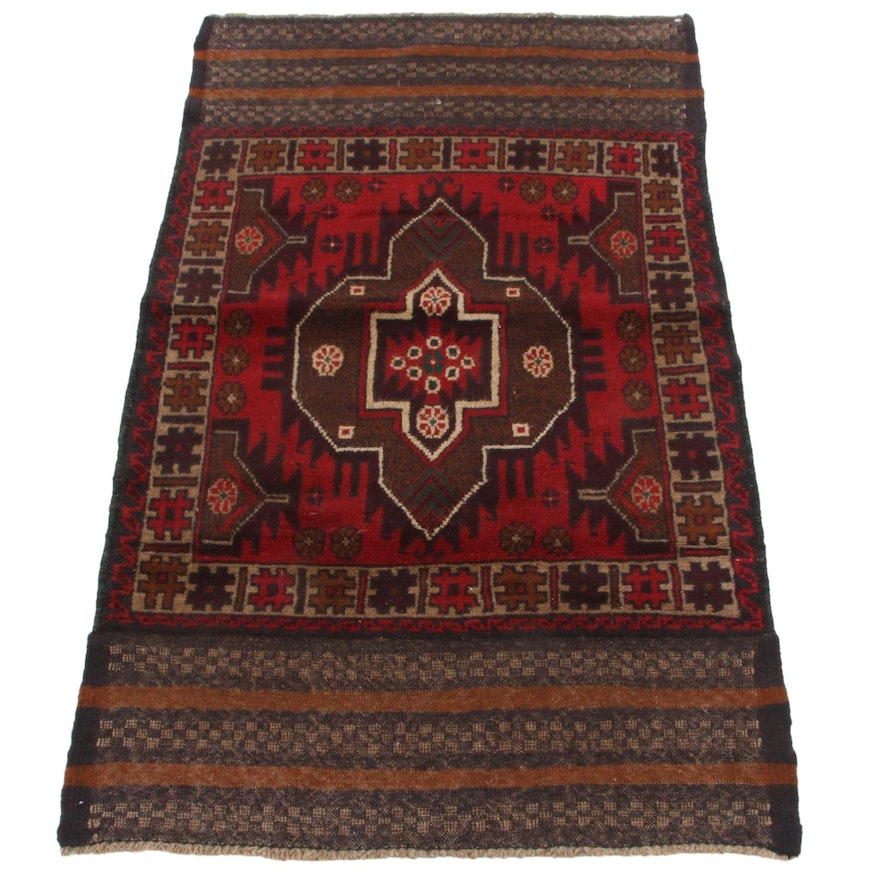 2'9 x 4'9 Hand-Knotted Afghan Baluch Accent Rug, 2000s