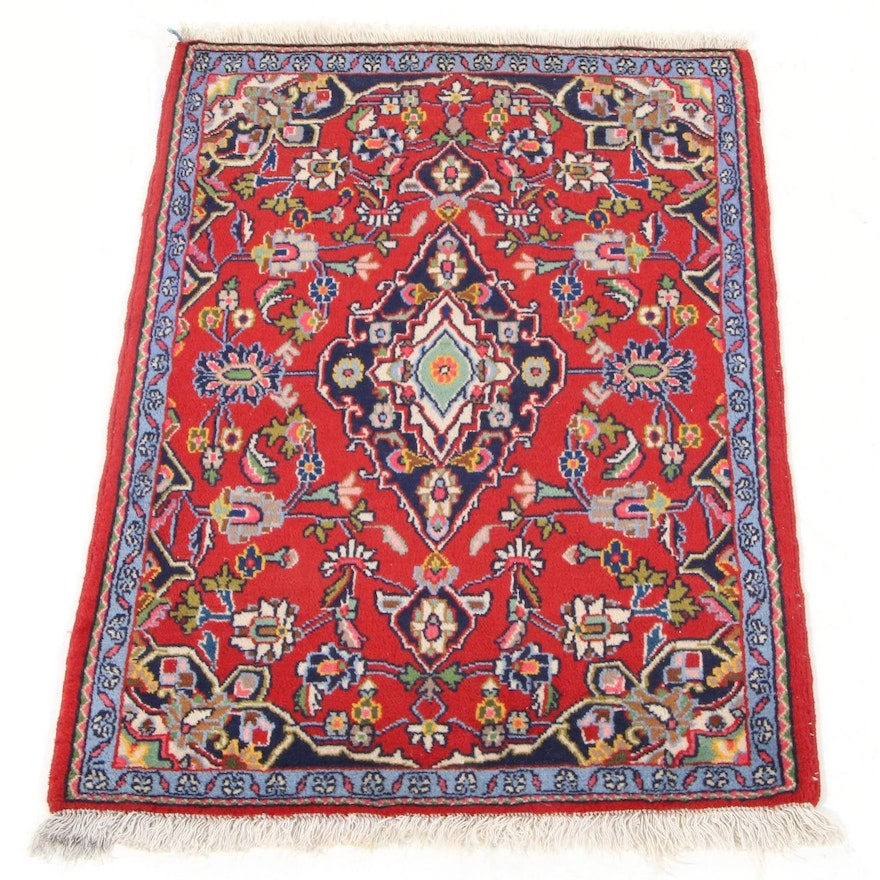 2'1 x 2'11 Hand-Knotted Persian Kashan Accent Rug, 1970s