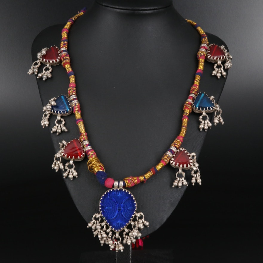 Vintage Indian 800 Silver Kuchi Glass Tribal Necklace with Bells