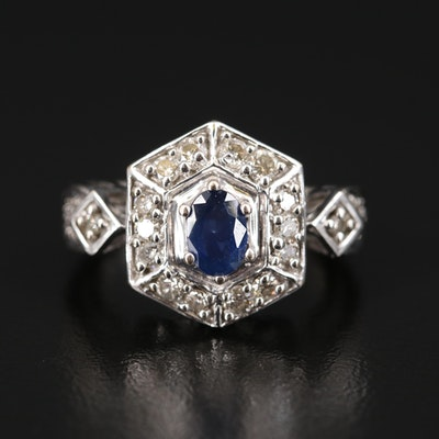 14K Sapphire and Diamond Hexagonal Ring