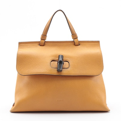 Gucci Bamboo Daily Two-Way Bag in Butterscotch Pebbled Leather