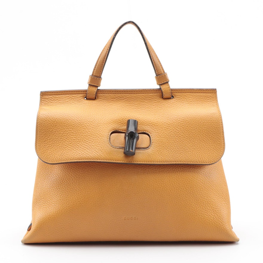 Gucci Bamboo Daily Two-Way Bag in Orange Pebbled Leather