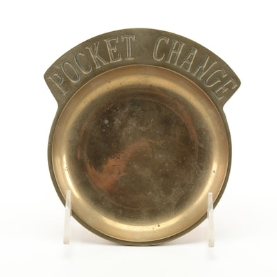 """Pocket Change"" Brass Coin Dish, Mid to Late 20th Century"