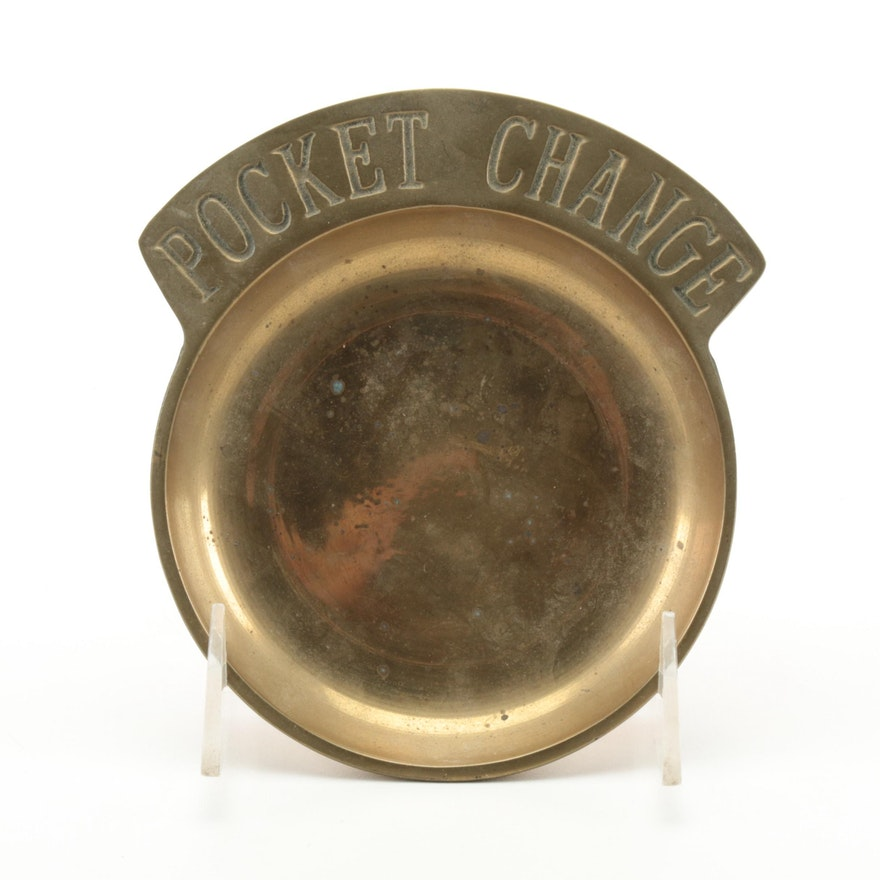 """""""Pocket Change"""" Brass Coin Dish, Mid to Late 20th Century"""