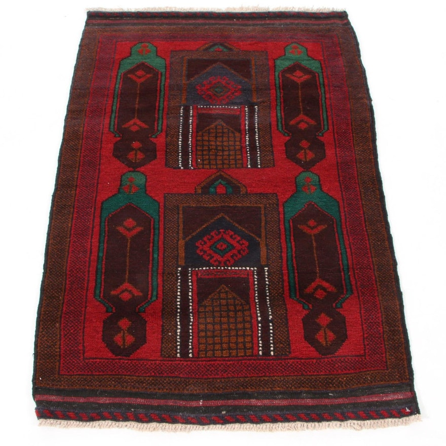 2'11 x 4'9 Hand-Knotted Afghan Baluch Pictorial Accent Rug, 2000s