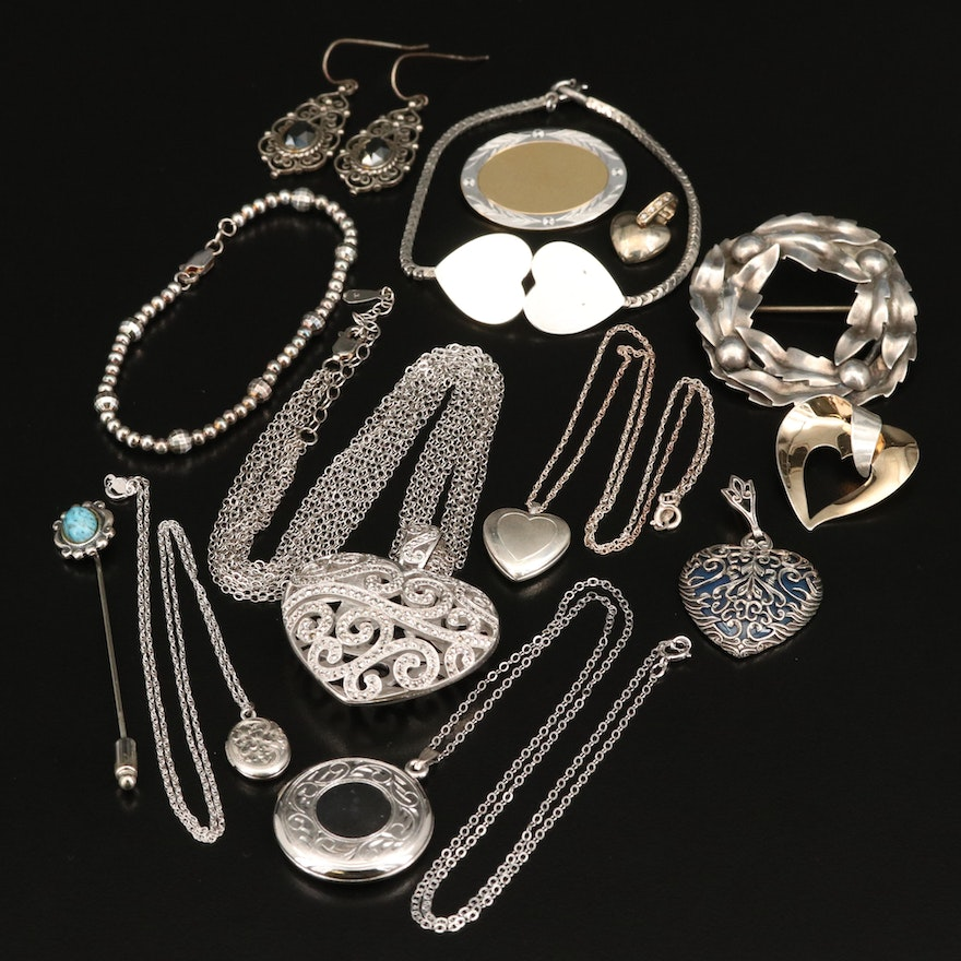 Sterling, Hematite and Marcasite Jewelry Assortment Featuring Hearts and Lockets