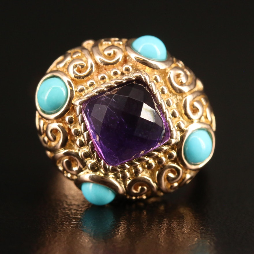 14K Amethyst and Turquoise Scrollwork Ring