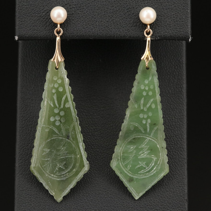 14K Pearl and Carved Nephrite Drop Earrings