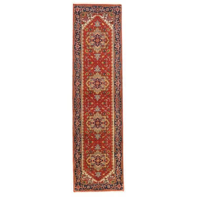 2'8 x 10'2 Hand-Knotted Indo-Persian Heriz Serapi Carpet Runner, 2010s