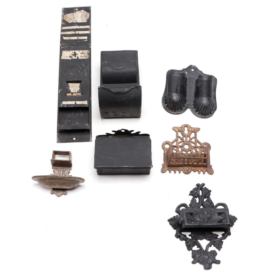 Cast Iron, Metal and Tin Hanging Match Holders