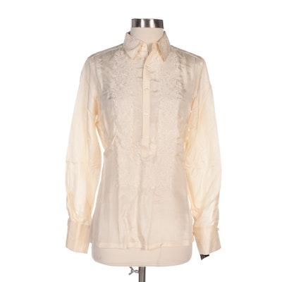 Ralph Lauren Floral Embroidered Silk Button Up Blouse