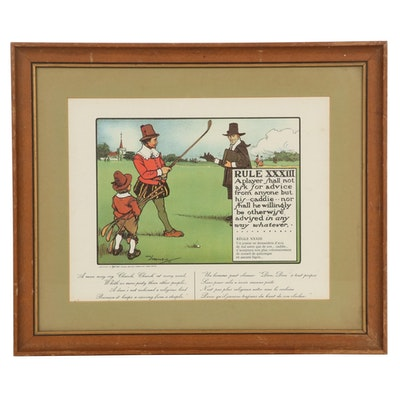 """""""Rules of Golf"""" Series Letterpress Halftone after Charles Crombie """"Rule XXXIII"""""""