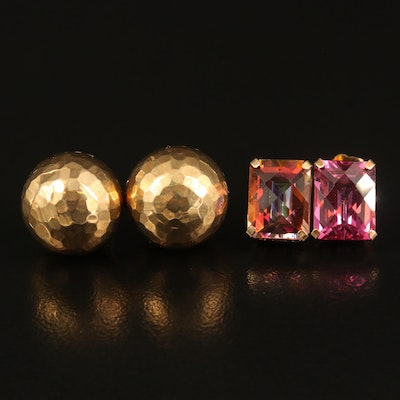 14K Mystic Topaz and Orb Stud Earrings