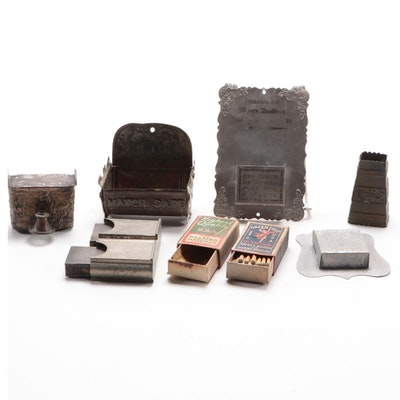 Metal and Tin Decorative Match Holders with Matches