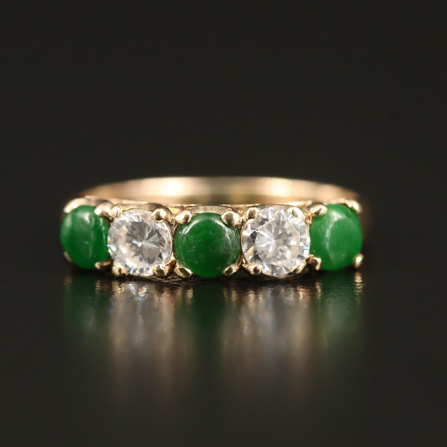 14K Jadeite and Cubic Zircoina Five Stone Ring