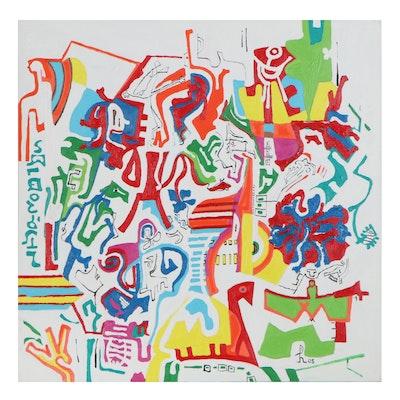 "Phyllis Trager Hyman Acrylic Painting ""Maze"""