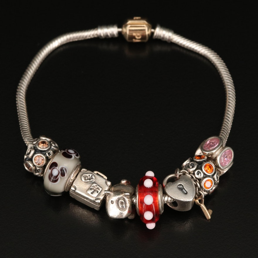 Pandora Sterling Silver Charm Bracelet with 14K Accents