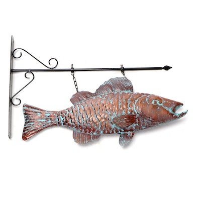 Verdigris-Patinated Copper Full-Body Fish Trade Sign with Metal Mounting Bracket