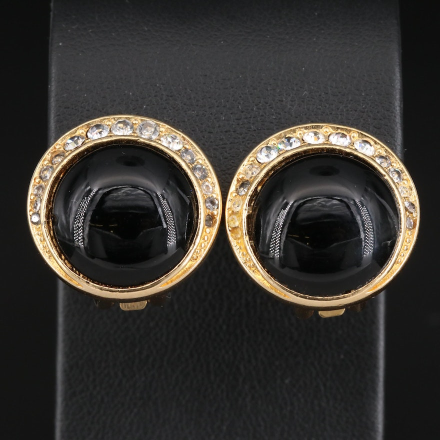 Christian Dior Imitation Onyx and Glass Button Earrings